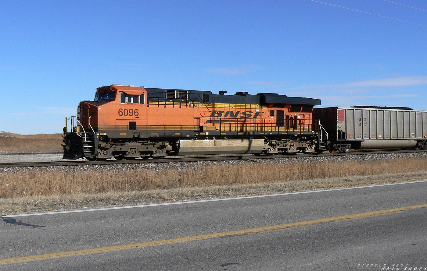 BNSF 6096 trailing coal loads